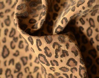 Suede Leather Leopard Print Imitation 45cm x 45cm 1,1 mm  Brown Leather Leopard Imitation Printed Leather Italian Leather Genuine Hide b691