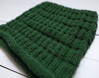 Green cowl Cowl scarf Knitted cowl Infinity scarf Hand knit cowl Winter cowl Greenery winter snood Circle scarf Knit infinity scarf