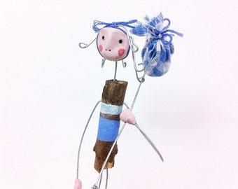 Sculpture -Wire Art- Adventurer- Figure- Wire Sculpture- Adventure Art - Clay Sculpture- Wood art