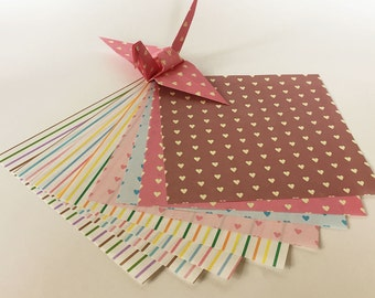 Origami Paper Sheets - Sweetheart and Line Pattern - 48 sheets