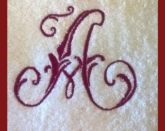 Monogram embroidered hand towel.(When you order two towels,we will ship you one for free. All towel will have the same design)