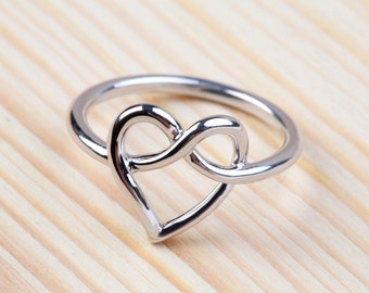 Love Knot Ring , Heart Knot Ring , Infinity Heart Ring , 925 Sterling Silver ( Big )