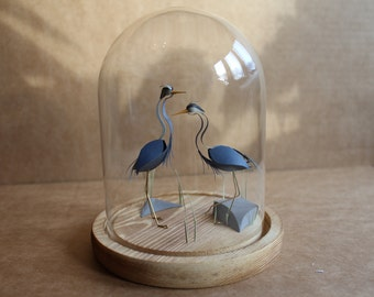 Together. Paper-cut Heron Bell Jar Sculpture. 2016