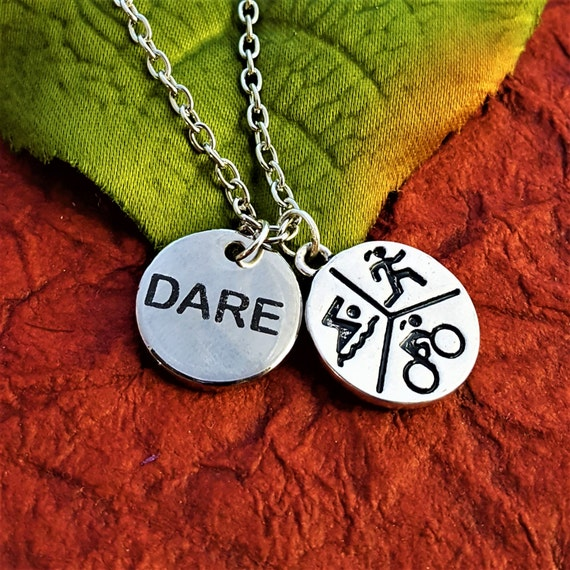 Runner Gifts, Running Triathlon Jewelry, CrossFit Jewelry, DARE Charm Necklace, Fitness Sports Marathon Gifts, CrossFit Gifts, Word Charms