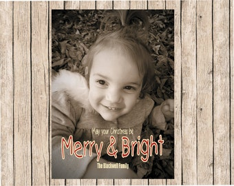 Custom Photo Christmas Cards, Sepia Photo Cards, Personalized Christmas Cards, Merry and Bright Cards, Print Ready Christmas Cards