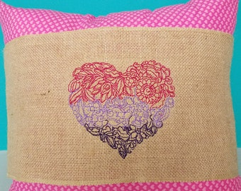 Valentine's Day Burlap pillow wrap - to fit 15 x 15 pillow