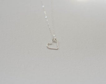 Heart necklace sterling silver necklace