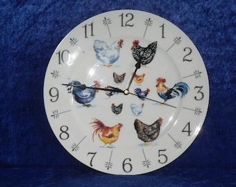 "Chicken clock - colourful fun 11"" large bone china wall clock"