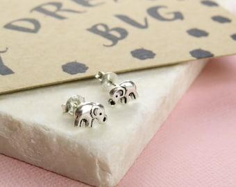 Dream Big Elephant Earrings - Silver Elephant Stud Earrings - Gift for Friend - Elephant Jewellery - Dainty Elephant Earrings - Gift for Her