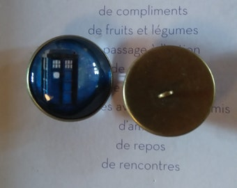 2 cabochons for buttons to sew 'doctor who'