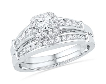 7/10 CT. T.W. Diamond Halo Bridal Set, Sterling Silver or White Gold Engagement Ring With Diamond Wedding Band