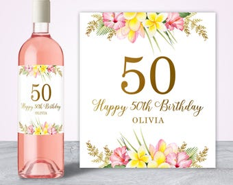 50th Birthday Ideas, 50th Birthday Gift for Women, 50th Birthday Decorations, 50th Birthday Wine Label, Custom Wine Label Fifty and Fabulous