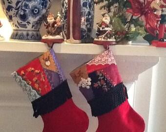 Christmas Stockings Handmade Crazy Quilt Embrodery Red Velvet Black Fringe
