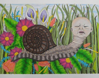 "Limited Edition 11x15 signed numbered prints of ""Slithery"""