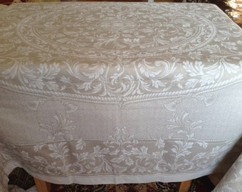 Large Linen Tablecloth 178 x 250 cm (72 x 100 inches). Oval Floral Pattern. Edges Trimmed With Hemstich