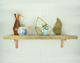Rustic Scaffold Shelf With Copper Brackets