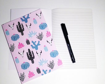 A5 Cactus Notebook with Lined pages and illustrated cover / desert / cactus / wild wild west