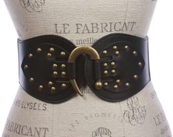"""Women's 4"""" Wide High Waist Elastic Stretchy Studded Hook Belt (6086)"""