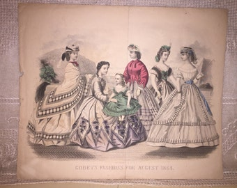 Antique Victorian Era Godey's Fashion Print Engraving Hand Colored Tinted Victorian Fashion Historical Clothing 1864