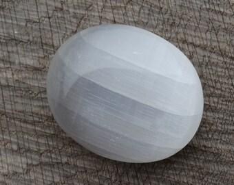Selenite Palm Stone Selenite Worry Stone  Mineral Specimen