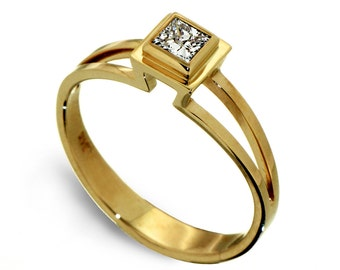 PRINCESS Engagement Ring, Solitaire Diamond Engagement Ring, Princess cut Square Diamond Ring, 14k gold engagement ring