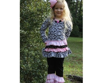 SALE! Boutique Girls / Baby  2 pc Pink Black Damask Ruffle Outfit