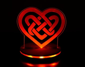Custom Valentines Day LED illuminated heart in a celtic knot configuration.