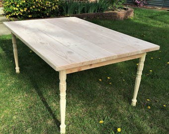 Country Pine Dining Table - UNFINISHED/BARE WOOD