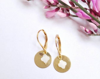 Coin earrings gold and Pearl pendant