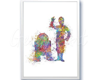 Star Wars R2D2 C-3PO The Force Awakens Watercolor Art Silhouette Poster Print - Wall Decor - Watercolor Painting - Home Decor - Kids Decor