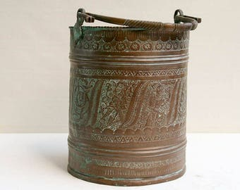 Heavy Ornate Copper Bucket