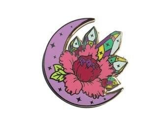 Moon Crystal Peony Lapel Pin Flower Crystals