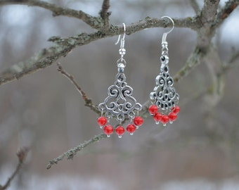 """Earrings """"Medveditsa"""", Handmade earrings in pewter with beads, Reconstruction of the IX century, The gift for woman"""