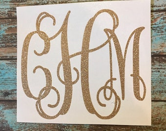 GLITTER Monogram Vinyl Decal | Yeti Corkcicle Rtic