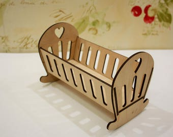 Barbie doll bed * Wooden Cradle * Doll plywood Furniture * Dollhouse miniature * Dollshouse bed * Barbie bed * Barbie Furniture * Dollhouse