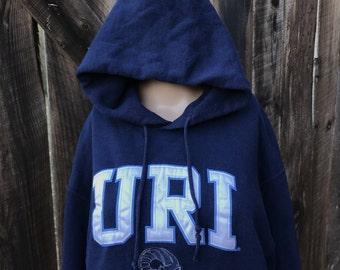 Vintage URI hoodie sweatshirt University of Rhode Island college hoody shirt sewn block letters blue mens womens unisex