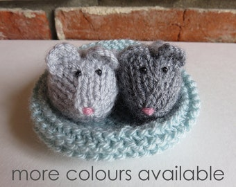 Two Hand Knitted Mice and Basket