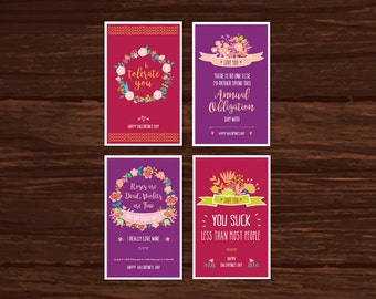 """Funny Valentine Card  4-Pack Download - """"I Tolerate You"""" plus 3 others - Fun card for friends, husband, wife. Sarcastic Valentines Day card."""