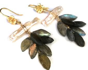 Labradorite and Freshwater Pearl Earrings--Labradorite Earrings==Freshwater Pearl Earrings