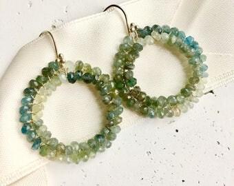 Aquamarine Earrings--Moss Aquamarine Earrings--Aquamarine Jewelry--Moss Aquamarine Jewelry