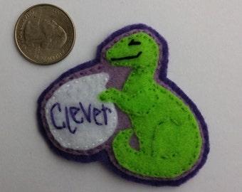 "Eco-Felt ""Clever""  Handsewn Dinosaur Pin"