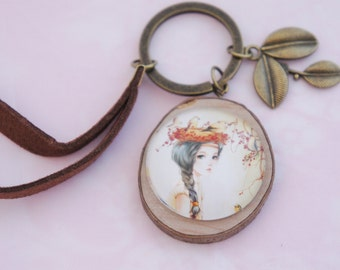 Keychain with Mori girl cabochon on little piece of wood. A really cute charm with a  cabochon. Really girly.  The perfect as a Mori jewelry