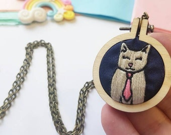 Cat Necklace - Cat Lover - Crazy Cat Lady - Cat Jewellery - Cat Gift Ideas - Cat Mummt - Necklace - Gift for Her - Embroidery Necklace -UK