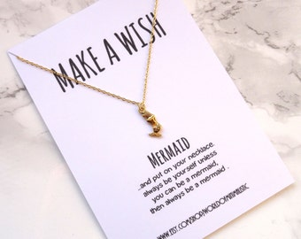 Make a wish mermaid necklace, simple everyday necklace, dainty delicate mermaid necklace, gold minimalist necklace, gift for her