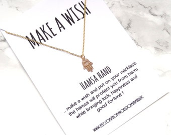 Talisman hamsa hand necklace, lucky hamsa necklace, protection necklace, dainty delicate gold hamsa necklace, minimalist layering necklace