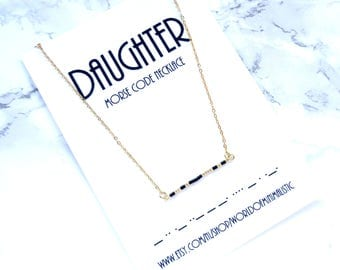 DAUGHTER morse code necklace, bridesmaid necklace, simple bar necklace, dainty delicate necklace, minimalist necklace, mother gift