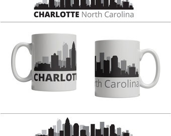 Charlotte NC Skyline Mug - Personalized Custom Text Ceramic Coffee Cup Tea, 11 oz - North Carolina