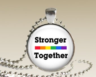 Gay Pride Jewelry Stronger Together Necklace Stronger Together Pendant STE1