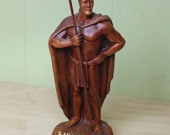Vintage King Kamehameha Hapa Wood Figurine Made in Hawaii