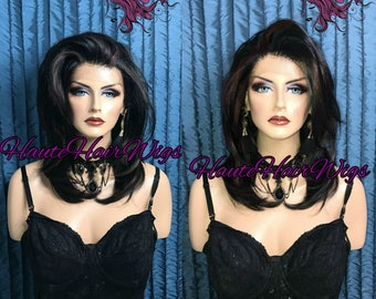 Black With Highlights Human Hair Blend Multi-Parting Lace Front Wig - Morrigan